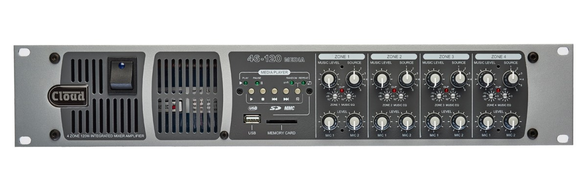 46-120T Media 4 Zone Integrated Mixer Amplifier